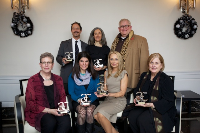 Arts Awards winners clockwise from top left: John Cavaliere, Helen Kauder, Kenneth Hopkins (Adaptive Nutcracker), Carol Ross, Debra Marchese (Adaptive Nutcracker), Amy Migliore-Dest (accepted on behalf of Stephen Dest), and Ruth M. Feldman.
