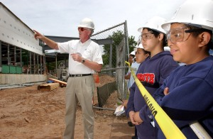 Students observe the construction of New Haven's L.W. Beecher Museum Magnet School, which Svigals + Partners designed. Photo courtesy of Allison Gapski