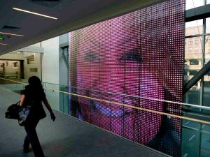The LED installation, designed by Electroland, at Gateway Community College's New Haven campus. Photo courtesy of C.C. Sullivan Strategic Communications