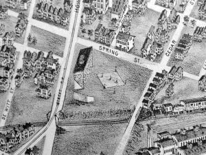 The Howard Avenue Grounds can be seen in this 1897 map of New Haven from the New Haven Historical Society Collection -- Peter Casolino/New Haven Register, Aug. 9, 2012.