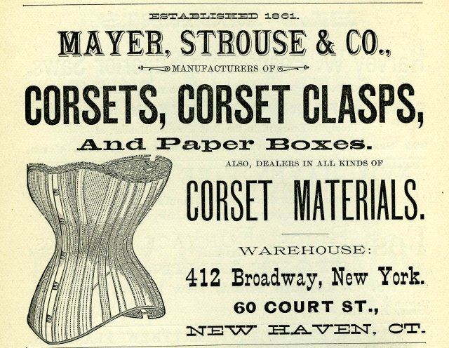 Mayer, Strouse & Co. advertisement in the City Directory, 1886, collection of New Haven Museum.