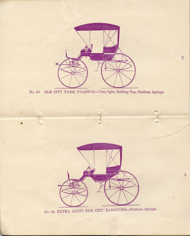 "Illustrations of ""Elm City Park Phaeton"" and ""Extra Light Elm City Barouche"" carriages in B. Manville & Co. Trade Catalog Carriages and early Automobiles Collection. From the collection of New Haven Museum."