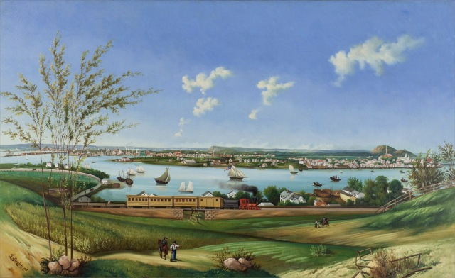 A painting (oil on canvas, c. 1860) by Leopold Schierholz depicting a view of New Haven from Fair Haven Heights, purchased with museum accession funds, partial gift of Ellen Sherk Walsh, collection of New Haven Museum.