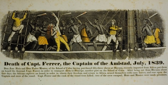"""Death of Captain Ferrer,"" John Warner Barber, 1840, hand-colored woodcut engraving. Collection of New Haven Museum."