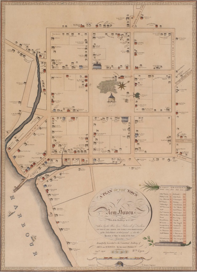 A lithograph of a plan of the town of New Haven, 1748, re-engraved by L.S. Punderson, published by Jacob Mailhouse, 1880, collection of New Haven Museum.