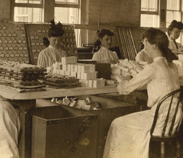 Photograph of women assembling clocks at the New Haven Clock Company, c. 1910, The New Haven Clock Company Papers, collection of New Haven Museum.