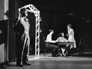 Thornton Wilder, left, as the stage manager in a production of Our Town at the College of Wooster, in Ohio. Photo courtesy of the Wilder Family LLC and the Yale Collection of American Literature, Beinecke Rare Book and Manuscript Library.