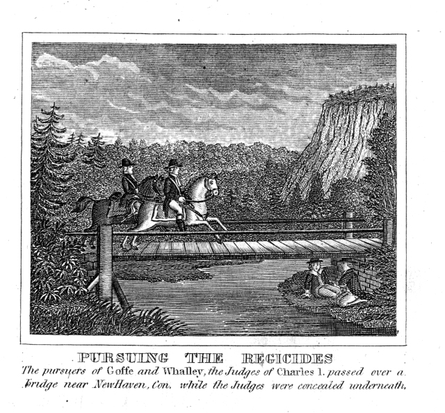 Wood engraving in Barber's Interesting Events in the History of the United States of royal agents pursuing Whalley and Goffe, John Warner Barber, 1832, collection of New Haven Museum.